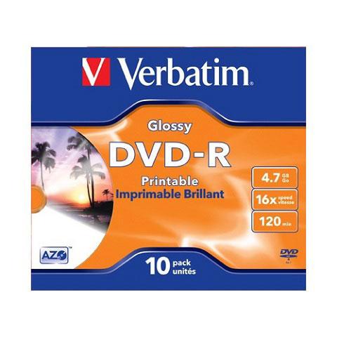 Диск DVD-R 4.7G 16x Verbatium Glossy Printable Jevel