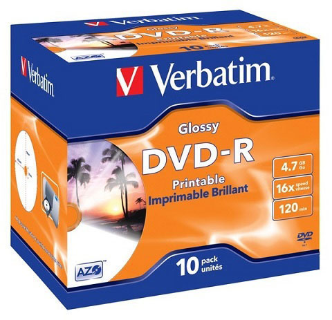Диск DVD-R 4.7G 16x Verbatium Glossy Printable Jevel (43567)